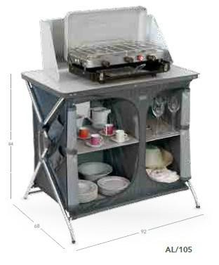 Armario mesa de cocina plegable aluminio camping al-105 crespo ...