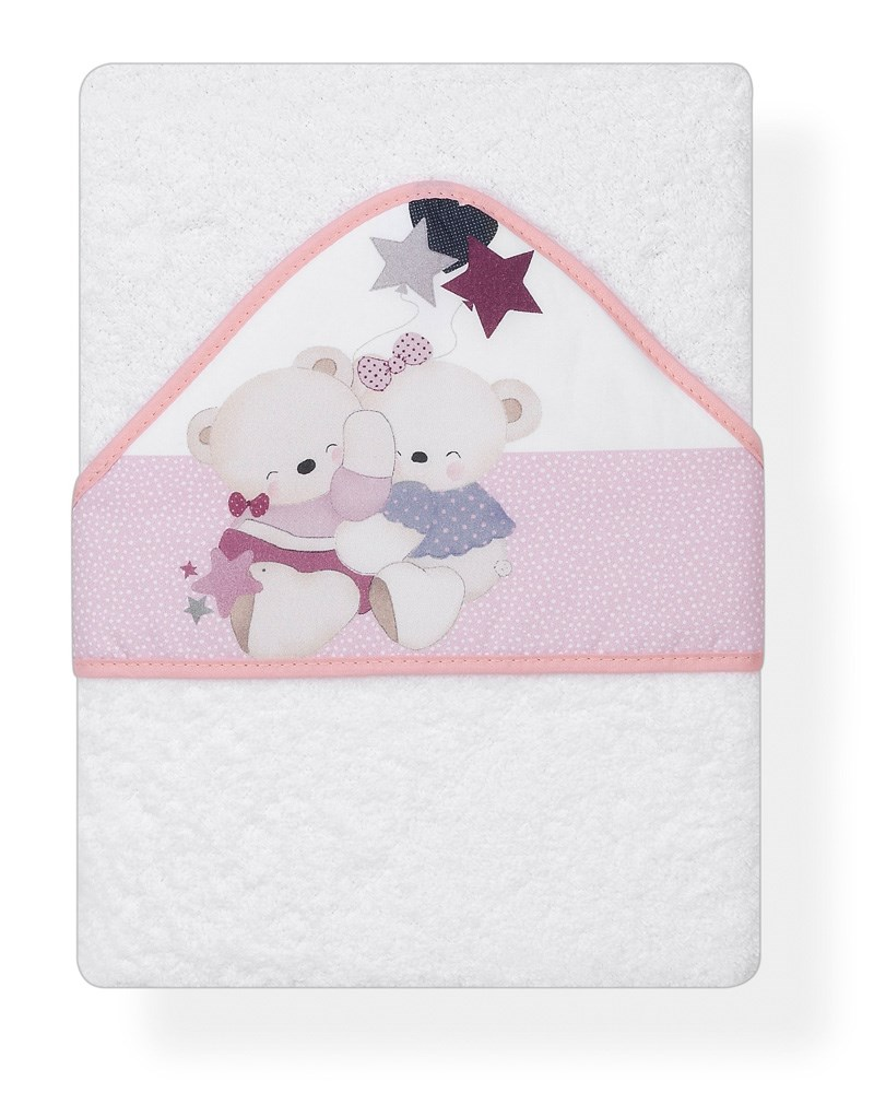 Capa de ba o estampada volamos baby blanco rosa casaytextil for Accesorios bano rosa