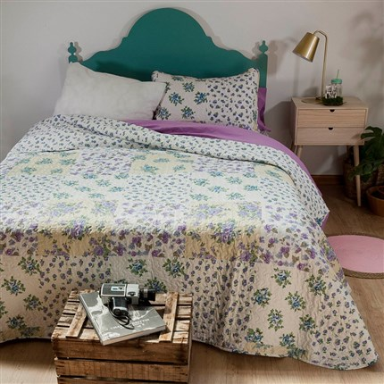 Colcha bouti reversible Lilas Icelands | CasayTextil