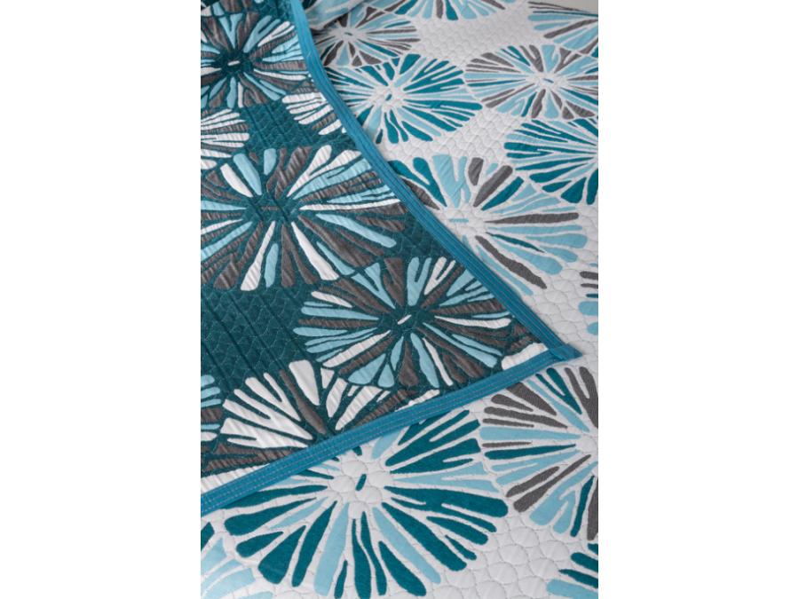 Colcha piqué reversible Kiwi Azul Eysa | CasayTextil