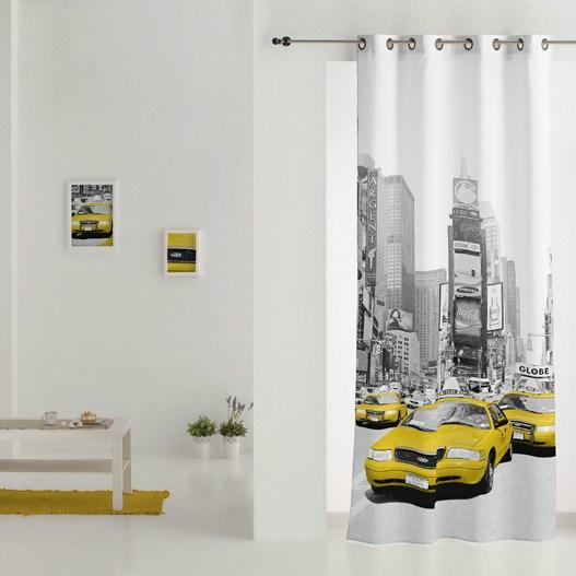 Cortina con anillas estampada new york casaytextil - Anillas de cortinas ...