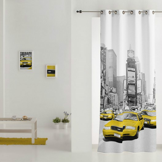 Cortina con anillas estampada new york