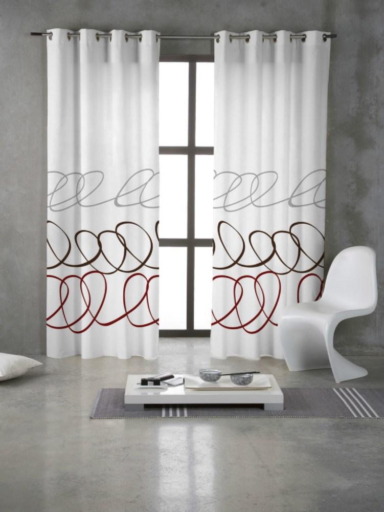 Cortina con anillas estampada sara casaytextil for Anillas de cortinas