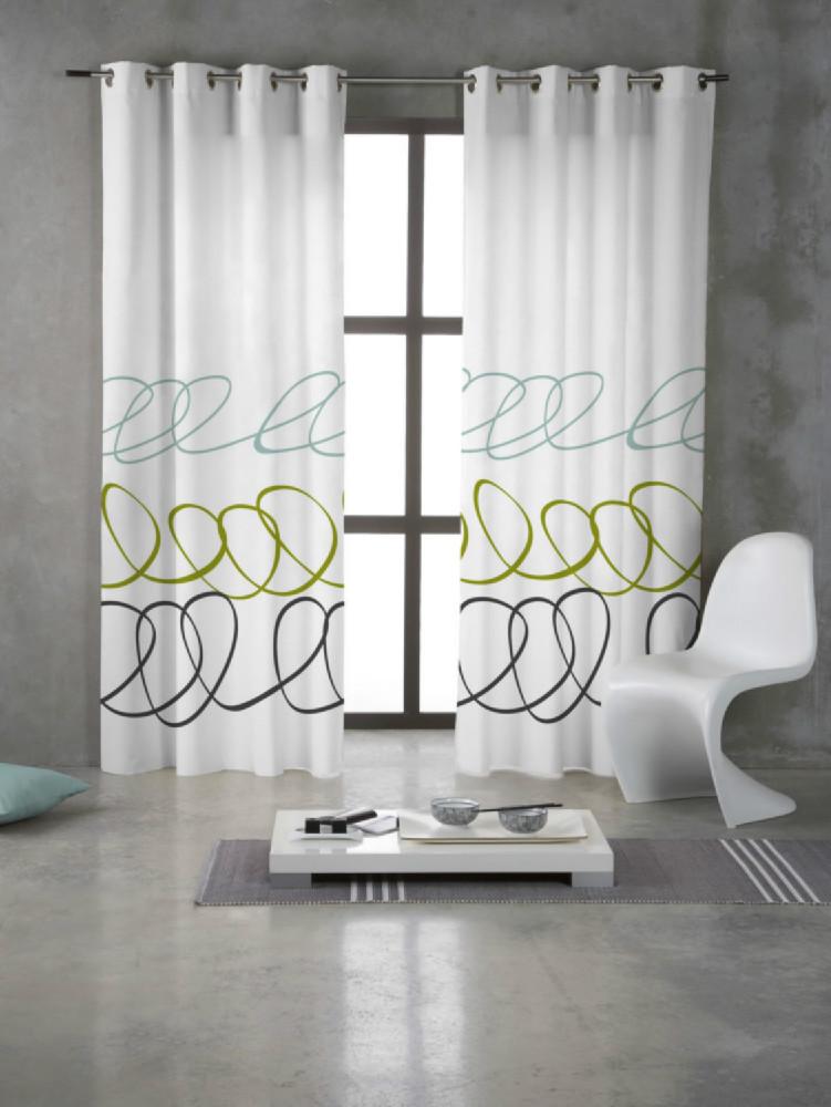 Cortina con anillas estampada sara casaytextil for Anillas plastico para cortinas
