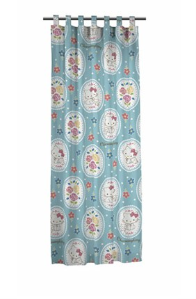Cortina con trabillas charmmy kitty blue rose | CasayTextil