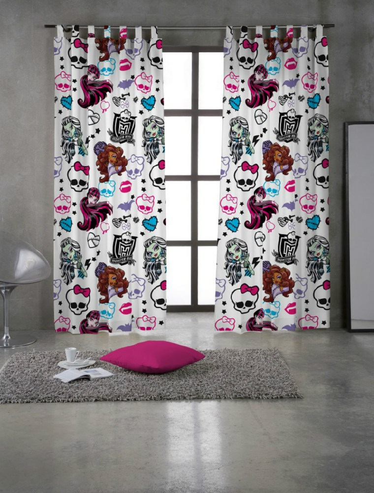 Cortina con trabillas monster high funny casaytextil for Cortinas con trabillas