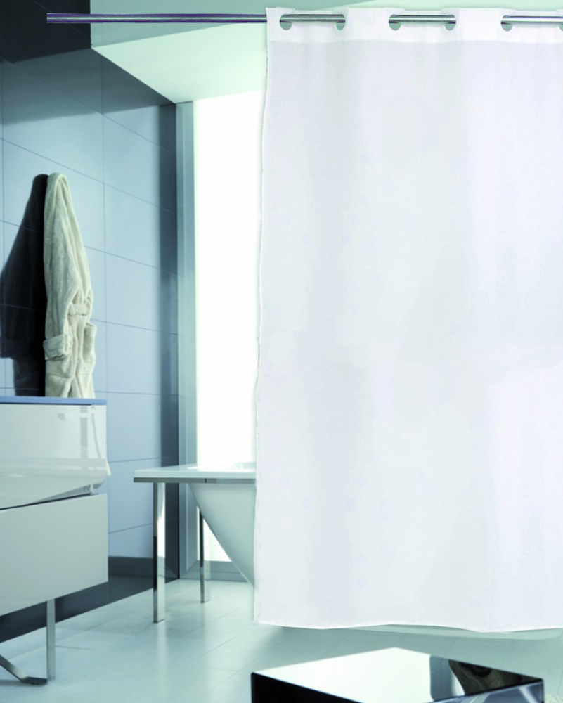 Cortina de ba o lisa blanca casaytextil for Cortinas y accesorios de bano