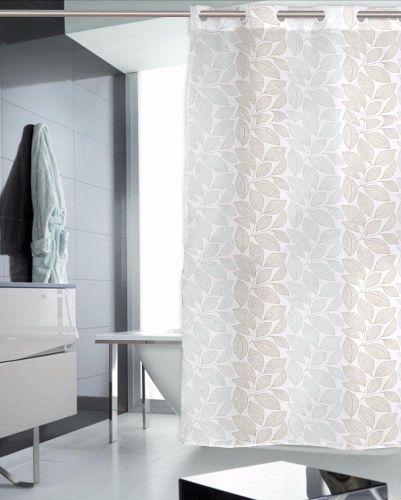 Cortina de ba o natur casaytextil for Ojales para cortinas de bano