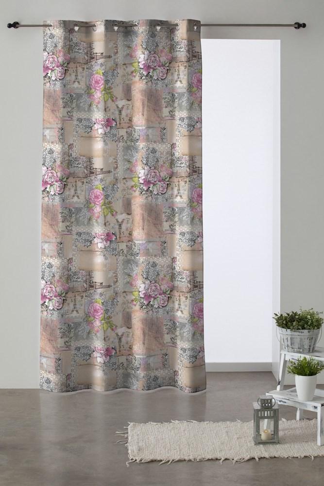 Cortina de ollaos romantic casaytextil for Ollaos para cortinas