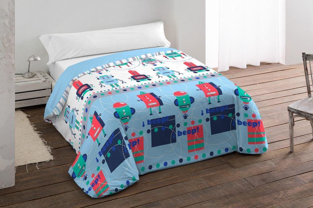 Edredón ajustable infantil Robots Azul