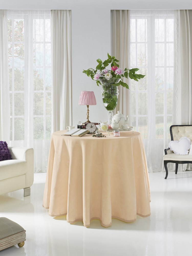 Falda mesa camilla lisa redonda 4047 pielsa casaytextil - Mesas camillas redondas ...