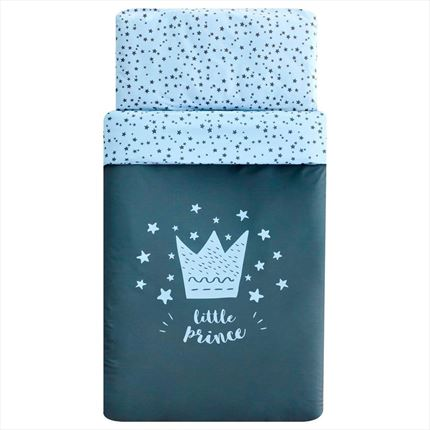 Funda nórdica cuna Little Crown Azul | CasayTextil