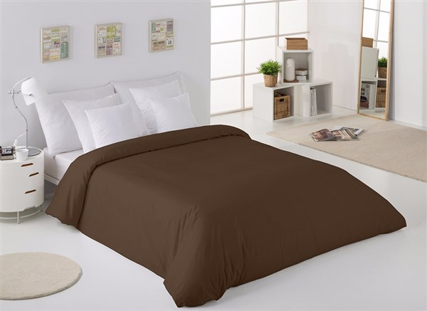 Funda Nórdica Unicolor (Cama 135 (220x220) - Chocolate-179 - )