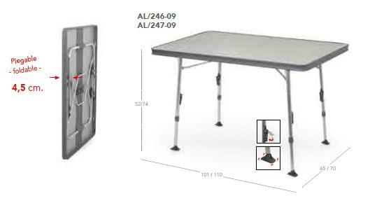 Mesa plegable aluminio camping al 246 g crespo casaytextil for Mesa de camping plegable de aluminio
