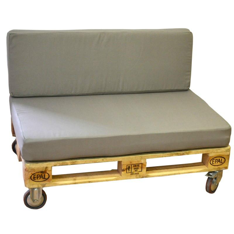 Sofa palet gris de madera con ruedas y coj n para exterior - Cojines para exterior ...