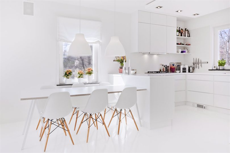 C mo decorar una cocina blanca todos los trucos - Mesa de cocina blanca ...